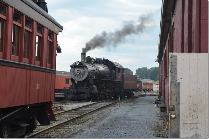 Coach 59 is ex-Boston & Maine built 1904 and restored 1998. N&W 475 needs no introduction. Strasburg.