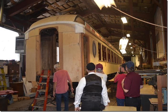 This former B&O coach was built in 1911 by AC&F and is currently under restoration. Ryan Merrill, in the black vest, is SRR's trainmaster. He gave us an excellent tour. Strasburg.