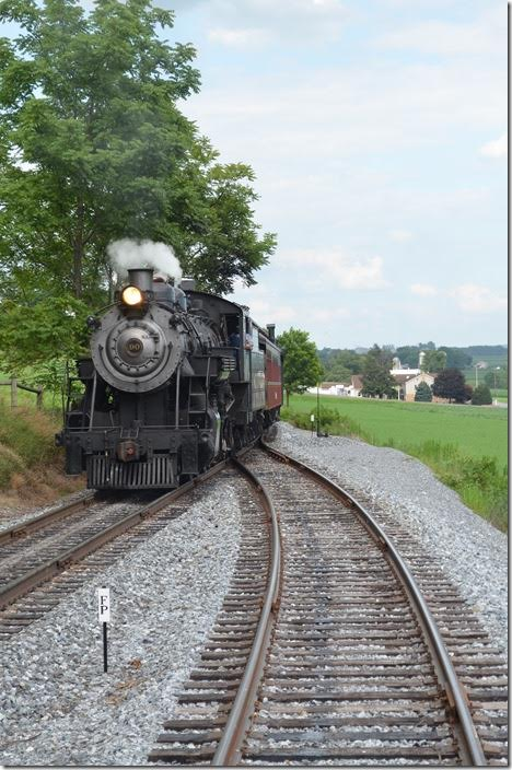 "No. 90 passes our train heading toward Strasburg station. ""FP"" indicates the fouling point of the siding. Strasburg 90. Cherry Hill."