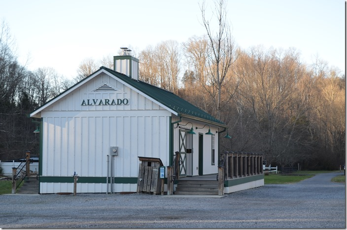 "Our first stop was this structure at Alvarado VA. From photos in ""The Last Steam Railroad In America"" it doesn't appear to be the 1950's depot. It is similar, but not the real thing. It has restrooms, etc. for those enjoying the trail. Depot Alvarado VA."