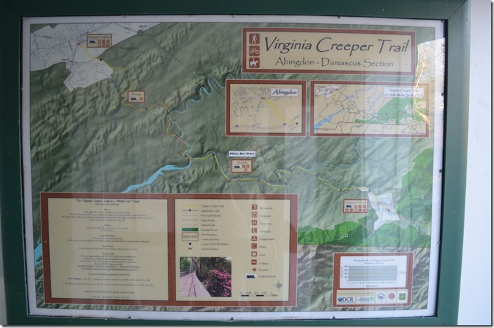 Our next stop was Damascus VA, located at milepost 16 on the Abingdon Branch. Virginia Creeper Trail. Alvarado.