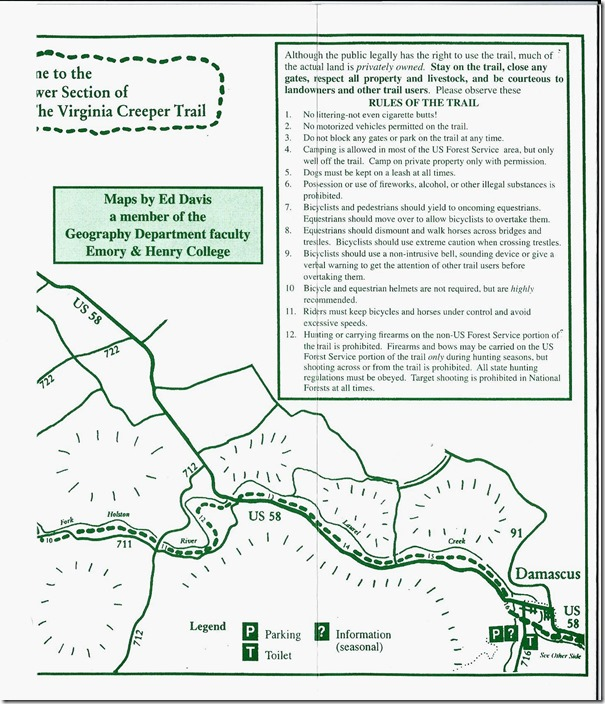 Virginia Creeper Trail guide - page 3.