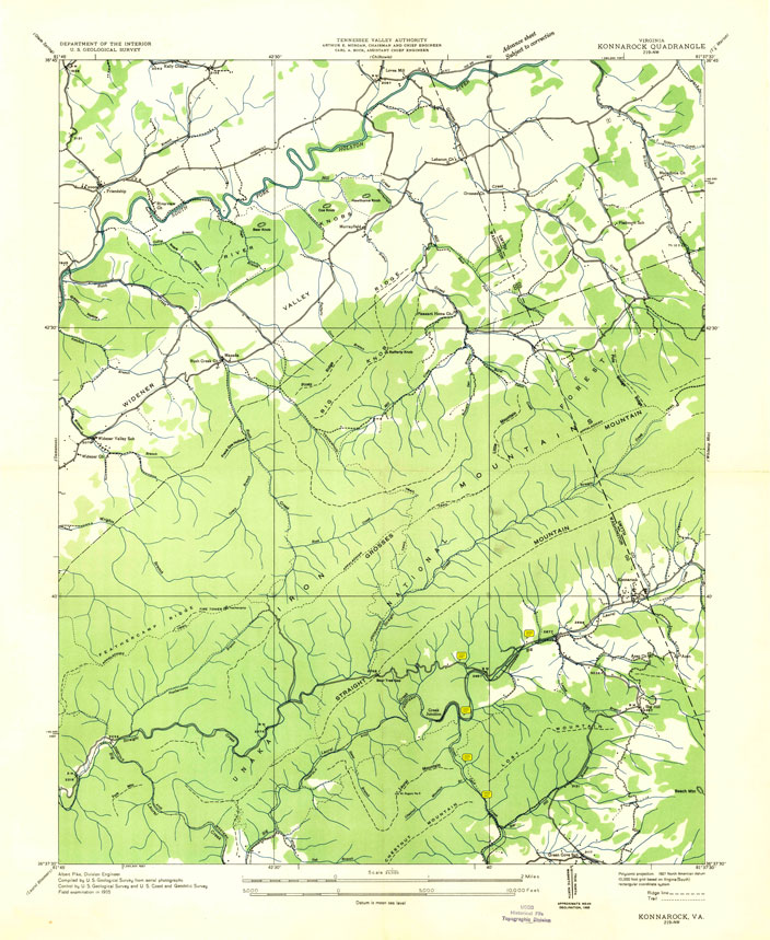 N&W USGS VA Konnarock Quadrangle Topographic map - 1935. Image only. PDF (with notes) is at the end of web page, paragraph 57.