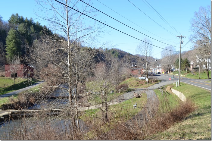 The only landmark remaining from Link's color photo in this view looking north at Lansing NC, is the red barn and bridge on the left. The abandoned roadbed is a walking track here. NW roadbed. Lansing NC.