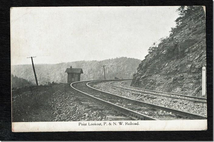 The length of the P&NW main line was 61.5 miles. If measured from Horatio this 59 mile post would be very close to the junction with the Pennsy main line at Bellwood. P&NW scene Point Lookout PA. Postcard.