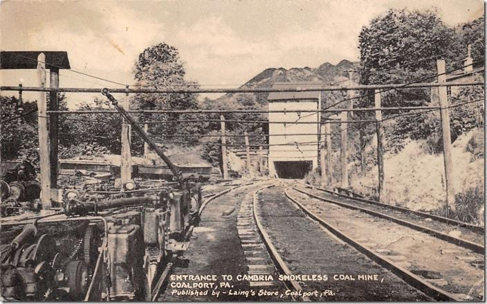 The P&NW gets a little mention in the PRR's 1946 history except to say it taken over by the Pennsy in 1902. That would explain the ownership of the depot above. Cambria Smokeless mine. Coalport PA. Postcard.