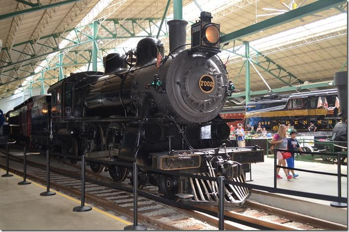 PRR 4-4-2 E7s 7002. Built Juniata Shops 1902 for passenger service. Built as 8063, but reclassified as E2 7002 in 1948 to represent world's record speed holder. The original 7002 has been scrapped prior to that date.