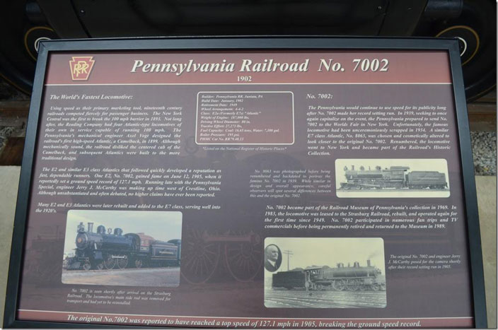PRR 7002 display board. Click on image for a larger view.