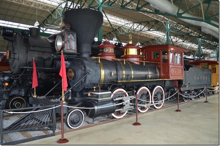 Virginia & Truckee Railroad 2-6-0 No 20 looks out of place in Pennsylvania. This belongs in the Nevada State Railroad Museum in Carson City NV (we visited there in 2016). V&T 20 was built by Baldwin in 1875. I would venture a guess that more V&T locos have been preserved --- for the size of the short line – than any other railroad in America.
