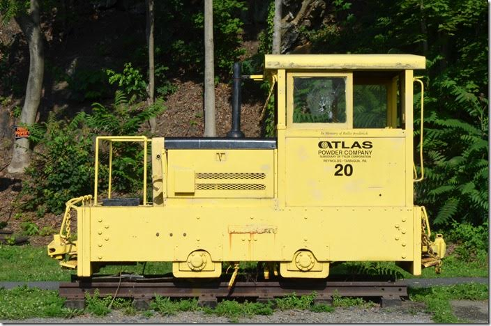 "This Atlas Powder Co. ""dinkey"" 20 is on display at the depot. Tamaqua PA."