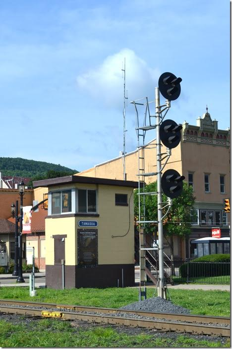 Reading had signals here (a big signal bridge), so R&N keeps the tradition. I'm not sure of the original function of the small tower. R&N tower. Tamaqua PA.