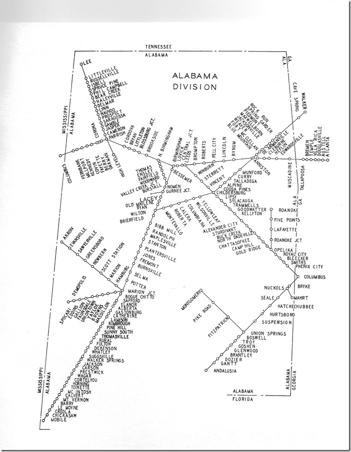 This map of the Alabama Div. shows other Southern lines around Birmingham and the branch to Columbus MS from Parrish AL which was in a coal field. Sou Ala Div map.