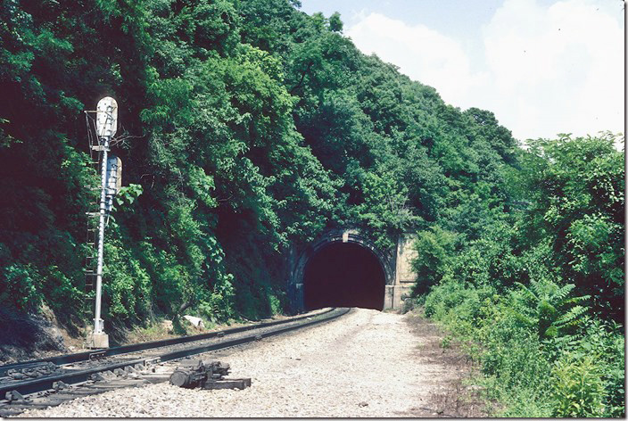 North portal of Lookout Mountain Tunnel near Chattanooga TN, FKA Alabama Great Southern. L&N (NC&StL) runs between Southern and the Interstate highway through these narrows with the Cumberland River.