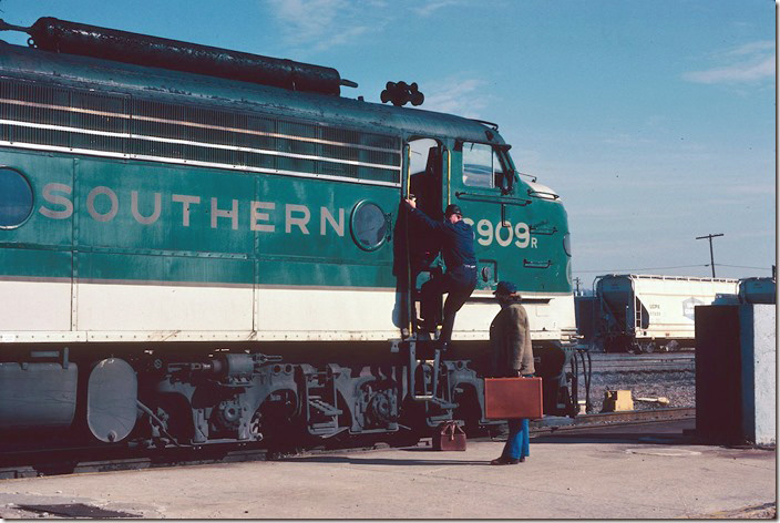 Crew of No. 2, the n/b Southern Crescent, changing crews at the location FKA Birmingham Terminal Station. 01-29-1979.