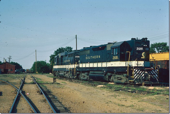 Southern 2681-2555 worked local and coal mines out of Columbus MS. Our mission, however, was to shoot the Columbus & Greenville Baldwins. 05-12-1977.