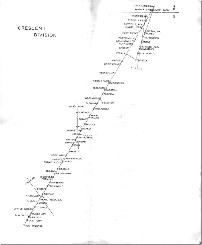 The line from Alton Park Yard in Chattanooga TN to Gadsden AL, is the former Tennessee, Alabama & Georgia Ry. Sou Crescent Div map.