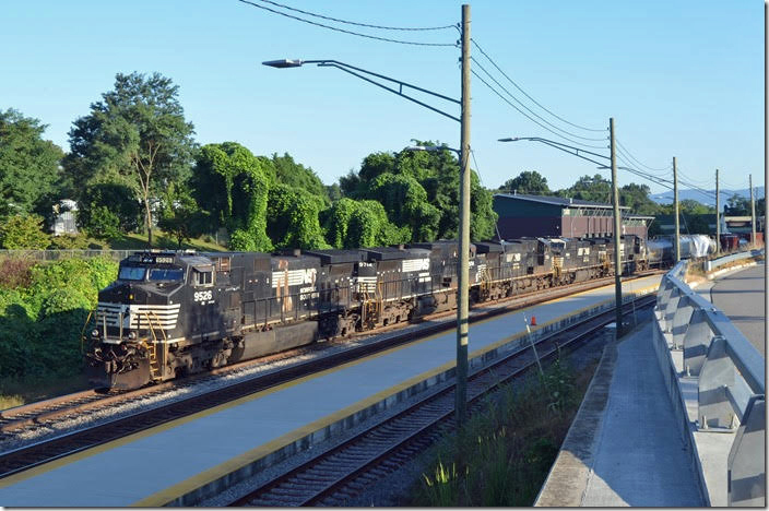 NS 9526-9714-7634-8464-7516 are parked on track 2 at Kemper St. station on Friday, 08-25-2018. 35Q-23 (Allentown PA - Linwood NC) had 32 lds/38 mtys. It was still parked here on Sunday morning. Lynchburg VA.