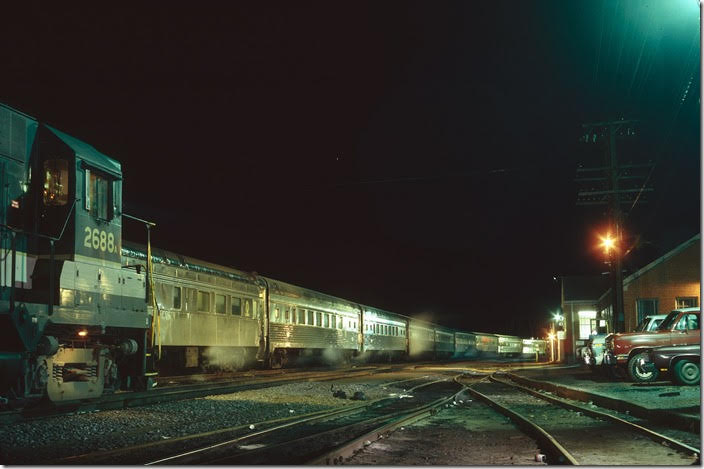 Second No. 1, the southbound Southern Crescent, changes crew at Monroe VA on the evening of Dec. 26, 1977. Southern Ry. Lynchburg VA.
