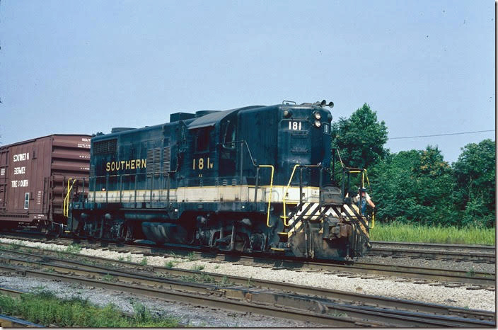 GP18 181 came to Southern when it took over the Norfolk Southern. Southern added the high short hood to a chop-nosed unit. Lynchburg VA.