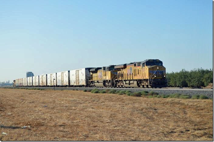After staying the night in Tulare CA, we encountered this westbound while driving south on CA 99. UP 2523-8478 has nine ARMN (UP/MP) and Cryo-Trans refrigerated reefers sailing by near Pixley CA. This is Union Pacific's former Southern Pacific San Joaquin valley main line.