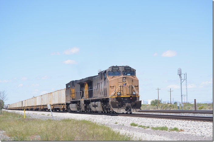 DPUs like UP 7232-6515 are common on most trains. Lordsburg NM.