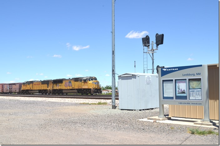 Amtrak's tri-weekly Sunset Limited stops here during the day. UP 5079-4431. Lordsburg NM.