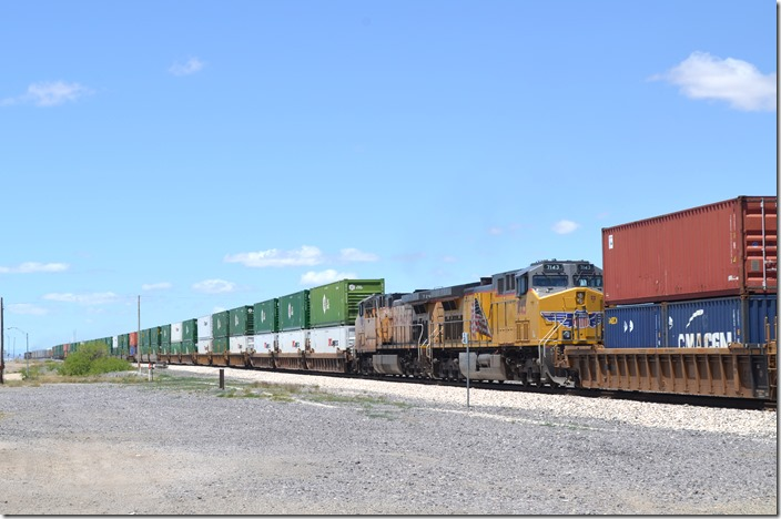UP DPUs 7143-7295 are in the middle of the train. Some McClure met coal trains run that way here. Lordsburg NM.