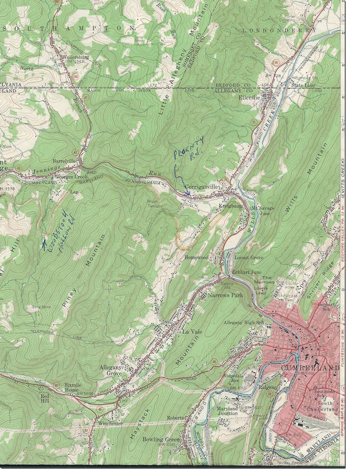 At the lower right of this Frostburg Quad 15 min. 1950 topo you can see Maryland, Jct., Knobley Tunnel and Knobmount Yard. Frostburg Quad 2 USGS map.
