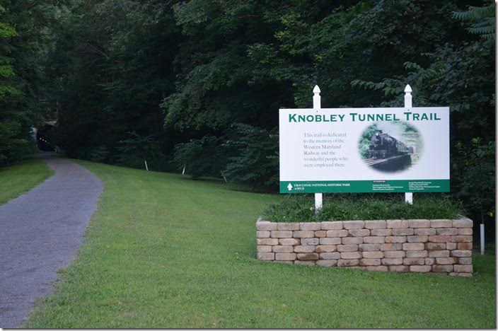 Knobley Tunnel is now a lighted walking trail! Knobley Tunnel Trail sign. Ridgeley WV.