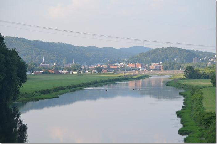 Looking north toward downtown Cumberland. The CSX yard would be out of view on the right. Potomac River. Cumberland MD.