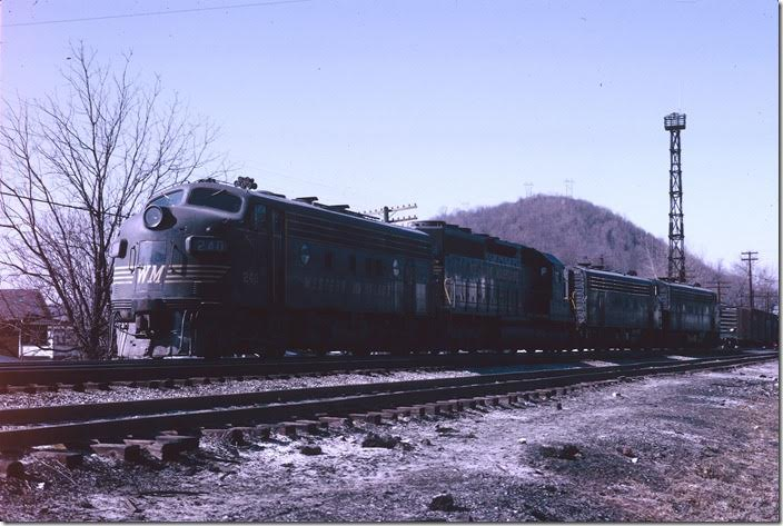 F7a 240 with SD40 7474 and F7as 63 and 236 are ready to couple up for the run to Connellsville, Pa. WM Ridgeley WV.