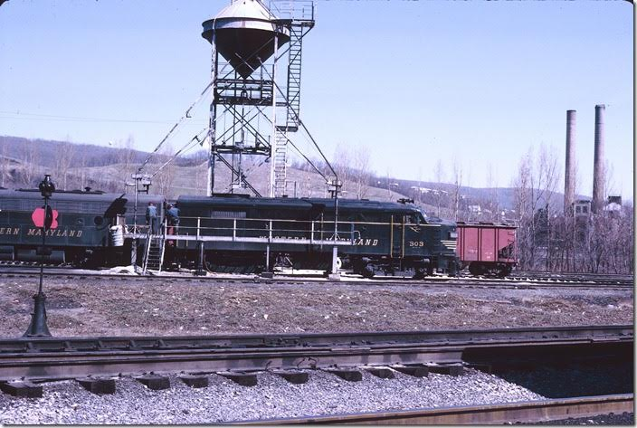 The engine terminal was called Maryland Junction. No. 303 gets some attention. WM Ridgeley WV.